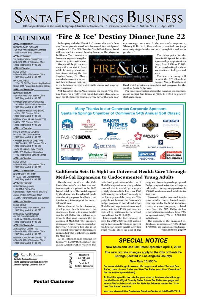 thumbnail of April 2019 Santa Fe Springs Chamber Newspaper
