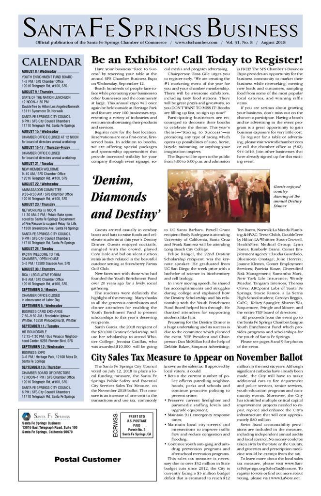 thumbnail of August 2018 – Santa Fe Springs Chamber Newspaper 2018