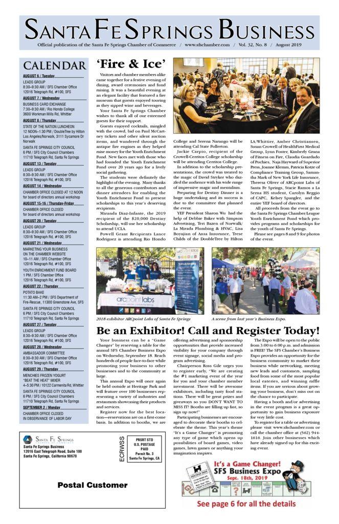 thumbnail of August 2019 – Santa Fe Springs Chamber Newspaper