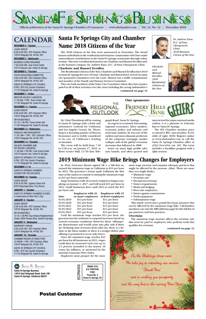 thumbnail of December 2018 – Santa Fe Springs Chamber Newspaper