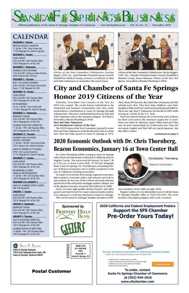 thumbnail of December 2019 – Santa Fe Springs Newspaper