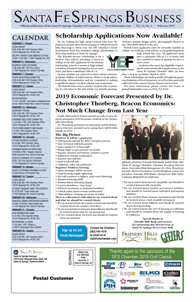 thumbnail of February 2019 – Santa Fe Springs Chamber Newspaper