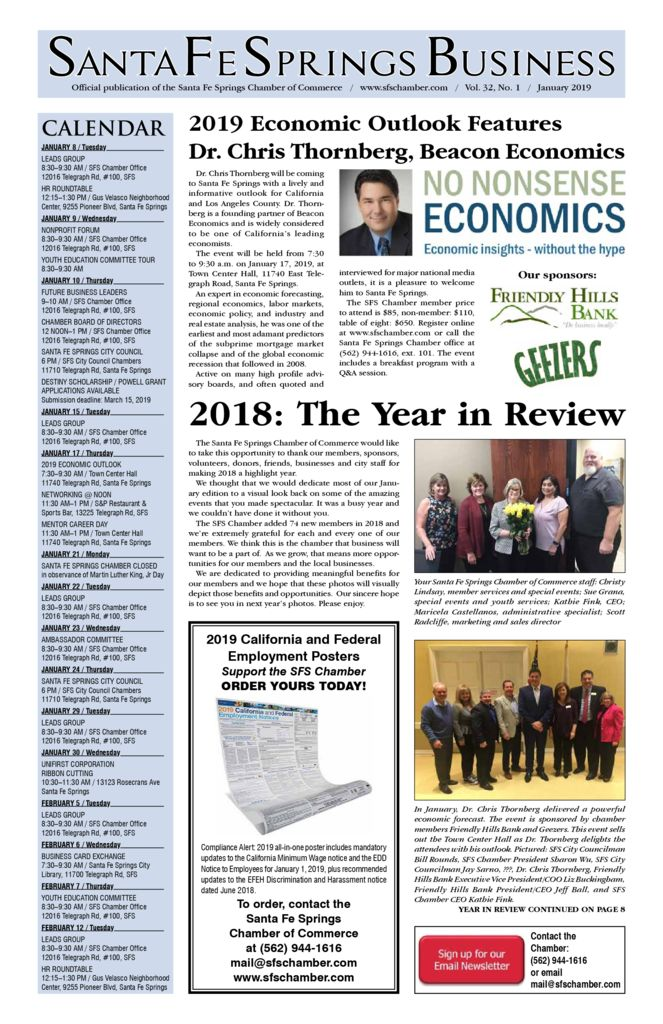 thumbnail of January 2019 – Santa Fe Springs Chamber Newspaper
