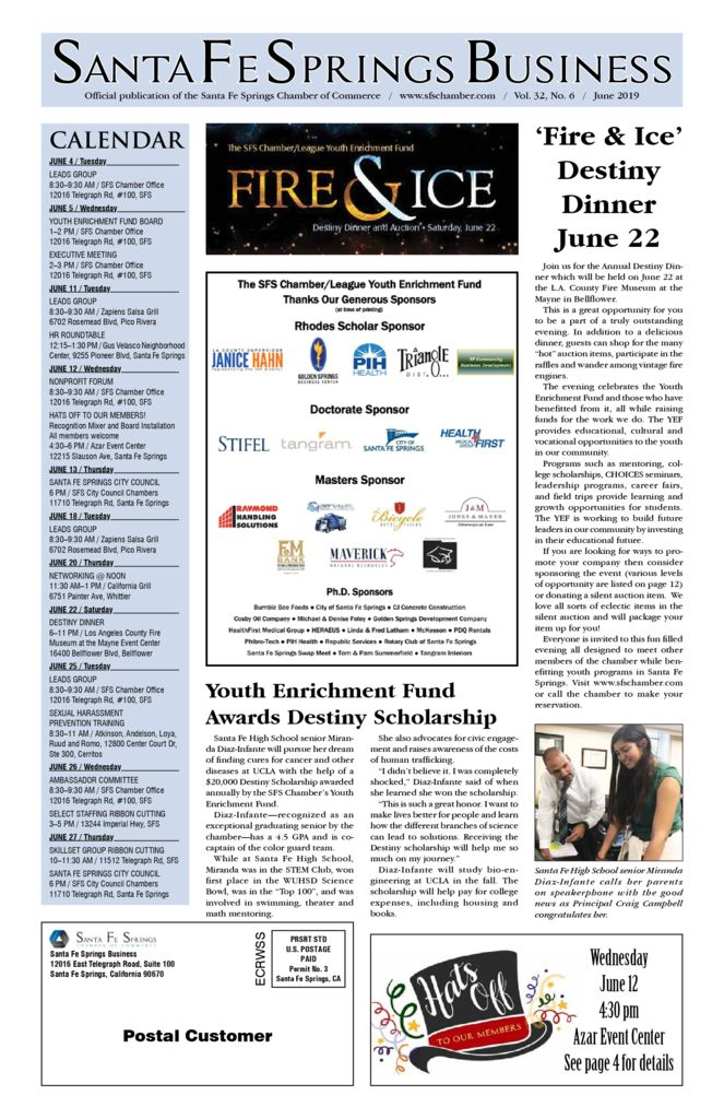 thumbnail of June 2019 Santa Fe Springs Chamber Newspaper
