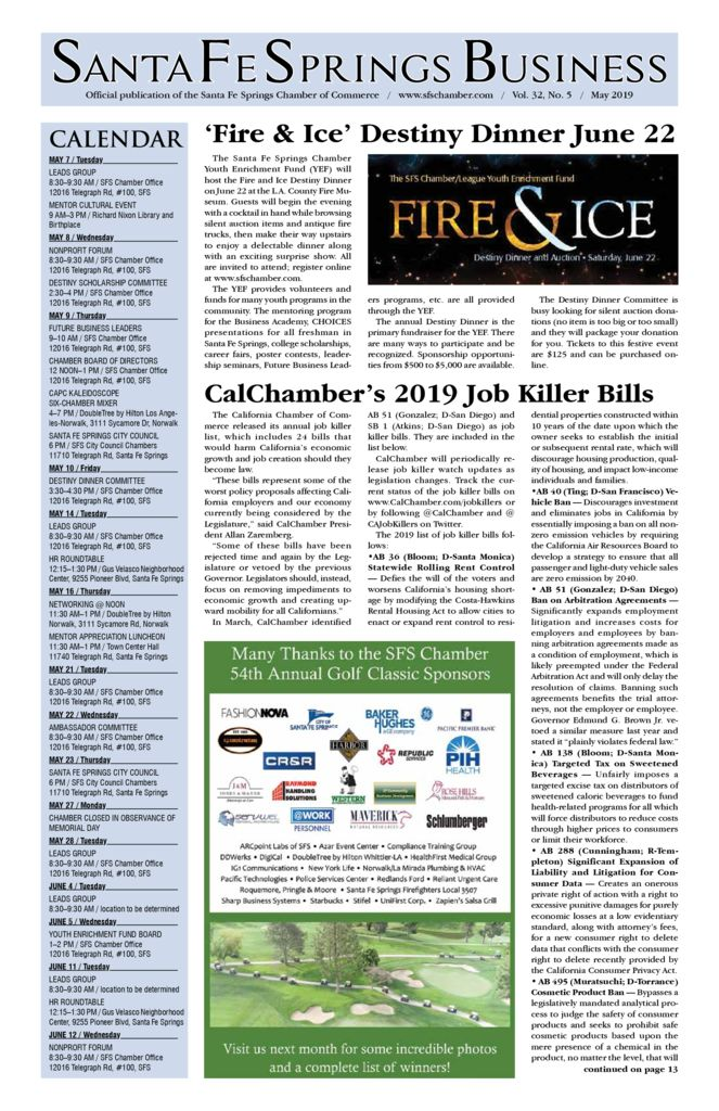 thumbnail of May 2019 Santa Fe Springs Chamber Newspaper