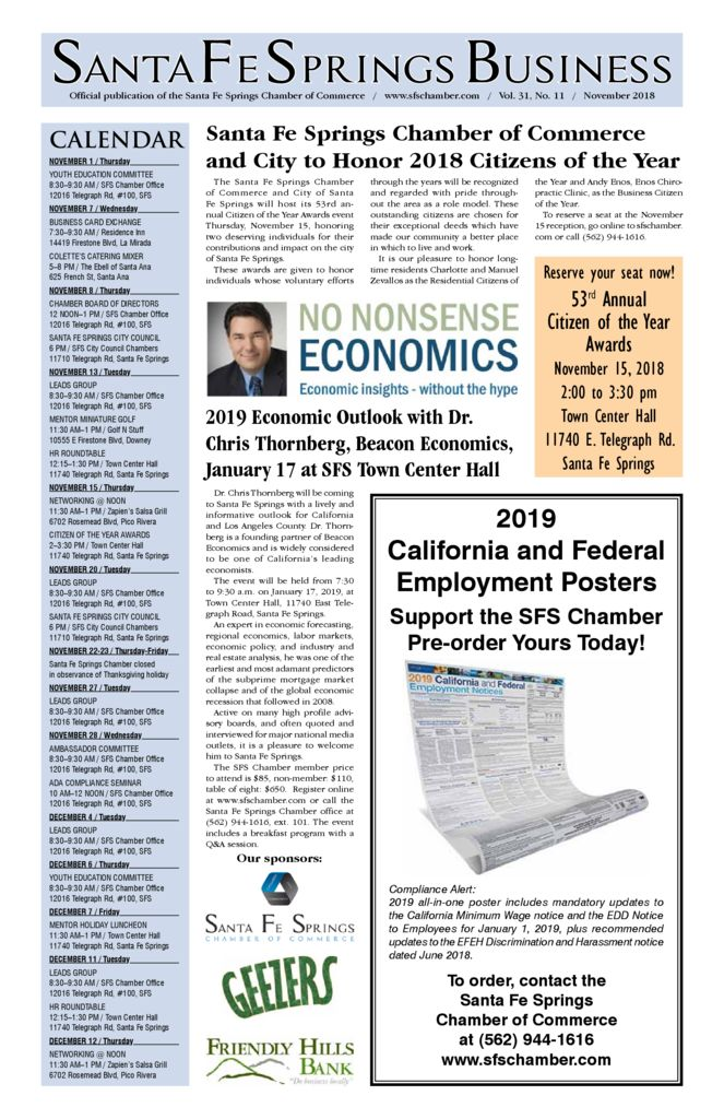 thumbnail of November 2018 – Santa Fe Springs Chamber Newspaper