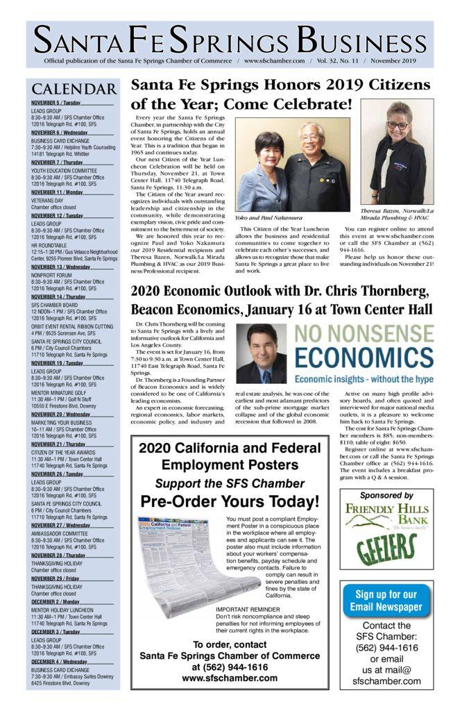 thumbnail of November 2019 – Santa Fe Springs Newspaper