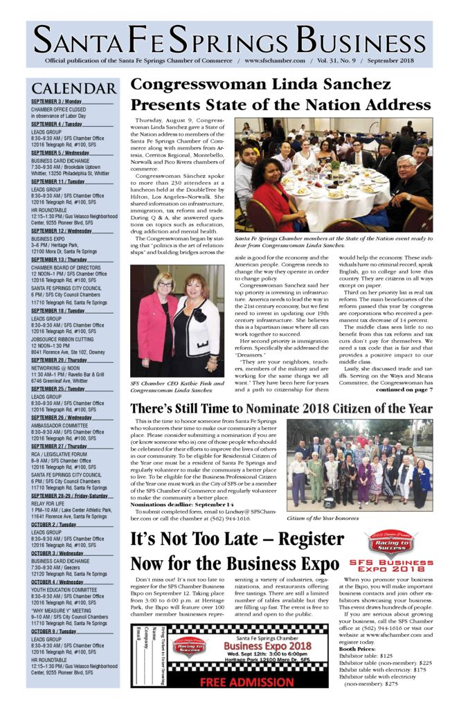 thumbnail of September 2018 – Santa Fe Springs Chamber Newspaper