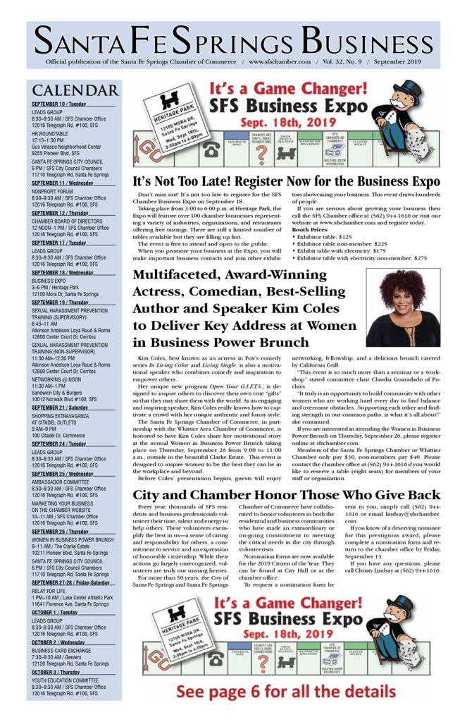 thumbnail of September 2019 – Santa Fe Springs Chamber Newspaper